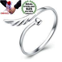 OMHXZJ Оптовая Мода Романтические Крылья Ангела Влюбленных Пара Стерлингового Серебра 925 открыть настроить женский для Женщины Мужчина Кольцо Подарок RG07