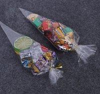 100pcs despejan celofán embalaje del caramelo del bolso del bolso del regalo respetuoso del medio ambiente del chocolate dulce de palomitas de maíz bolsa de plástico con el lazo de alambre