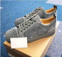 Piatto Verde Suede Classic Design Mesh inferiore rossa della scarpa da tennis degli uomini taglio basso scarpe da tennis di cristallo Rivetti Junior Spikes Orlato uomini del cuoio 35-47 WithBox