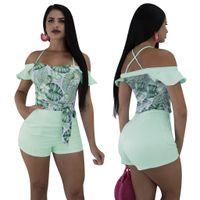 Raya verde de impresión de rayas traje mujeres sexy con volantes fuera del hombro tiras Shorts mono ocasional de verano monos mameluco