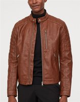Designer Mens Faux Leather Jacket carrinho da forma de manga comprida Collar Motorcycle Jacket Casual Zipper Roupa PU