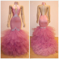 High Neck Prom Dresses Pink V Neck Satin Lace Appliques Cock...