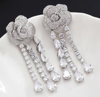 S925 Silver Rose Earrings with Crystal Fashion Women Jewelry...