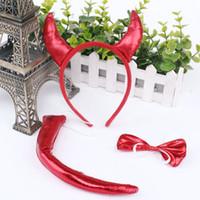 Halloween Ochsenhorn Kopfschmuck Roter Teufel Kopfbedeckung Schwanz Schmetterling Knoten Sets Tanzparty Führen Head Hoop 2 8mxa L1