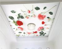 Foto personalizzata 3d wallpaper murale Fresco 3d rosa fiore soffitto HD seta TV sfondo muro sfondo per soggiorno