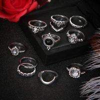 Silver Knuckle Ring Set Antik Crystal Diamond Crown Heart Drop Stacking Rings Midi Ring Designer Ringar Smycken Kvinnor