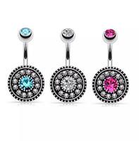 5 ألوان حجر الراين البوهيمي الفولاذ المقاوم للصدأ مجوهرات السرة الحانات الفضة البطن زر الدائري السرة هيئة ثقب المجوهرات