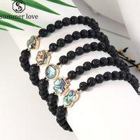 Haute Qualité Naturel Lava Pierre Brocelets Bracelets Abalone Shell Croix Heart Charme Ronde Chardon Forfait Bracelet Fashion Bijoux Cadeau