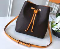 Realfine888 5A M44021 26CM NeoNoe Momogran قماش دلو حقيبة، الرباط الإغلاق، مع حقيبة الغبار، DHL شحن مجاني