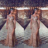 Vestidos de fiesta de oro rosa 2019 Funda elegante Africano Árabe Noche Vestidos de fiesta de un hombro Celebrity Vestidos Mujeres Cremallera Atrás Largo Barato