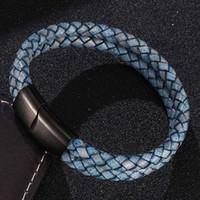 Çift Katmanlı Retro Mavi Örgülü Deri Bilezik Erkekler Takı Moda Paslanmaz Çelik Manyetik Kapat Bilezik Erkek Bilek Bandı Hediye