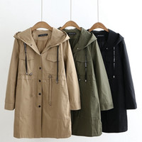 2019 Spring Autumn Hooded Trench Large Size Coat New Casual ...