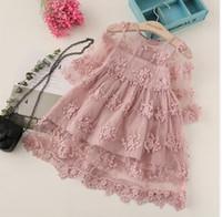 Yaz Kız Giysileri Çocuklar Kızlar için Elbiseler Dantel Çiçek Elbise Bebek Kız Parti Gelinlik Çocuk Kız Prenses Elbise GB267