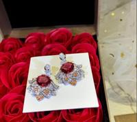 gioielli in argento sterling S925 orecchini gioielli a forma di uovo di divisione personalizzato corindone rosso pietra principale di fascia alta per le donne