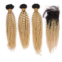 #1B/613 блондинка омбре малайзийский человеческих волос кудрявый вьющиеся переплетения пучки с закрытием блондинка омбре девственные волосы утки с 4x4 кружева топ закрытия