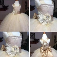 Champagne Charming Girl Flower Dresses Bow Satin Girls Pagea...