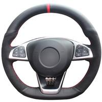Черный натуральной кожи Черного Suede Красного Маркер автомобиль Рулевое управление крышкой колесо для Mercedes-Benz C200 C250 C300 B250 B260 A200 A250