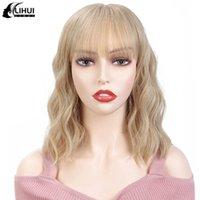 Lihui ondulato parrucche con Bangs 12 '' Biondo Corti parrucca sintetica per le donne termoresistente naturale dei capelli parrucca Cosplay