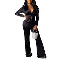 Sexy Slim Designer Survêtements Femmes Solid Color 2 pièces Pantalon large jambe Bouton col V à manches longues Costume Vestes Mode femme Survêtements