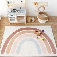 Bébé arc-en-ciel jouant tapis enfants tapis tapis tapis templamet enfants jouet joumat rainbow pour chambre à coucher tapis pépinière décor de pépinière quarto