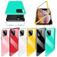 Manyetik Adsorpsiyon Telefon Kılıfı iPhone için 11 Pro MAX XR XS Max X PC Çerçeve Temperli Sert Arka Kapak İçin Samsung Note10 Artı