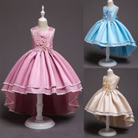 3 Colors Embroidered Floral Little Girl Ball Gowns Sleeveles...
