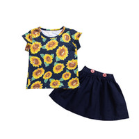 Everweekend Girls Newborn Girasoli Stampa Tees and Ruffles Gonne Outfuts Holiday Summer Sweet Baby Beach Fashion 2pcs Sets Abbigliamento