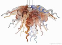 Moderno, Nuovo, Decorazione per la Casa d'arte in vetro di Murano Lampade Blu Aqua Ambra / Peach, colore LED CE UL soffiato lampadari di cristallo di vetro