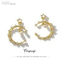 Yhpup Popolare Moon Star ORECCHINI Zirconia S925 Messaggio Jewelry Pendientes Mujer Moda 2019 per il regalo del partito delle donne
