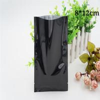 100pcs 8 * 12cm noir ouvert thermoscellage plat brillant paquet sac feuille d'aluminium en plastique mylar téléphone accessies sac d'emballage petit thé paquet