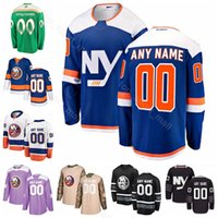 Casey Cizikas Jersey Ice Hóquei New York Islanders 7 Eberle 2 Nick Leddy 18 Anthony Beauvillier Leo Komarov St Patricks Day Luta contra o câncer