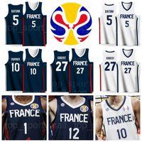 2019 Coupe du monde Équipe France Basketball Maillots Evan FOURNIER 10 Frank NTILIKINA 1 Nicolas Batum 5 Rudy GOBERT 27 Nando DE COLO 12 MBAYE Amath