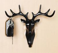 Hot Início Jardim auto-adesivo gancho da parede Deer Head gancho para pendurar roupas Hat Scarf Key cervos chifres cabide rack de parede Decoração
