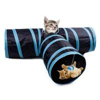 접이식 고양이 놀이 터널 3 구멍 애완 동물 고양이 터널 장난감 야외 애완 동물 고양이 훈련 장난감 고양이 고양이 재미 고양이 터널 하우스 장난감 35