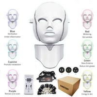 7 색 LED 전자 광자 LED 목 피부 회춘 마스크 안티 링클 여드름 여드름 치료 광자 피부 화장품 마스크