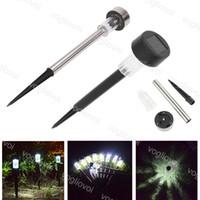 Çim Lambaları Güneş Bahçe Işıkları Simli Paslanmaz Çelik / ABS 1LED Sıcak Beyaz Renkli Açık Yolu Peyzaj DHL Için
