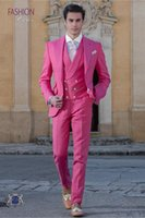 Hot Pink Fashion smoking dello sposo picco risvolto Groomsmen Mens Abito da sposa eccellente Man Jacket Blazer 3 tuta (Jacket + Pants + Vest + Tie) A63