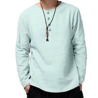 Chinese Style Men Shirt Button Long Sleeve Solid Color Leisu...