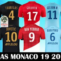 2019 Top Qualité AS Monaco maillot de foot FALCAO J. MOUTINHO Maillots de Soccer Rouge LEMAR JOVETIC GOLOVIN 2018 19 Maillot de Foot Flocage JORGE Shirt