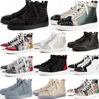 2020 Red Shoes Bas Hommes Femmes cloutés baskets plate-forme Spikes Vintage en cuir véritable rivets occasionnels taille Sneaker 36-47