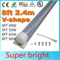 4피트 5피트 6피트 8피트 쿨러 문 주도 튜브 T8 통합 주도 튜브 더블 사이드 SMD2835 LED 형광 조명 AC 85-265V UL DLC V는 모양
