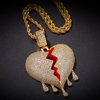 Iced aus gebrochenen Herzen Anhänger Halskette Herren Womens Fashion Hip Hop Schmuck Gold Silber Wassertropfen Herzschirme Halsketten