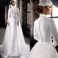 Modest una línea vestidos de boda musulmanes del satén 2020 con cuentas apliques de raso de cuello alto de manga larga de encaje Vestidos de novia WithTulle desmontable de tren