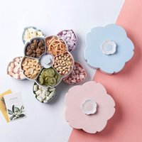 Portable Petal- shape Rotating Dried Fruit Dish Single Dual- l...