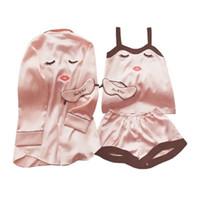 Mulheres De Seda De Cetim Pijama Set 4 Peças Lingerie Robe Pijama Blinder Room Lady Roupas Top Fashion
