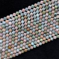 """Genuine Natural Multicolore Verde Rosa Blu Acquamarina Berillo Morganite Rotonda Larga Pietra Preziosa Braccialetto Braccialetto Perline 8mm 15.5 """"05975"""