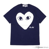 2018 COM Best Quality Blue white heart Des Garcons Riproduci Gold Heart T-Shirt Black Size XL CDG