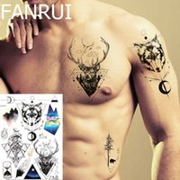 Temporary Tattoo Stickers Men Chest Deer Totem Water Transfe...