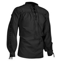 Урожай Tops Мужчины рубашка с длинным рукавом Средневековые готические рубашки высокой шеи Pure Color Long Sleeve Lace UP пуловер