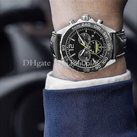 새로운 스포츠 43mm ASTON MARTIN 레이싱 시계 VK 석영 운동 크로노 그래프 스틸 케이스 블랙 가죽 스트랩 남자 시계 다이얼